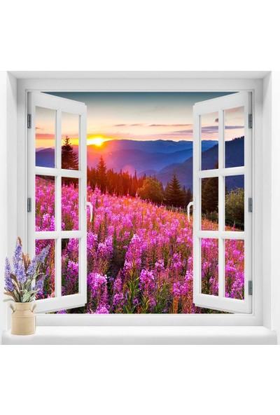 Dekoratifmarket Pencere Duvar Folyoları 120x120 cm Günbatımı Çiçekli Duvar Folyosu