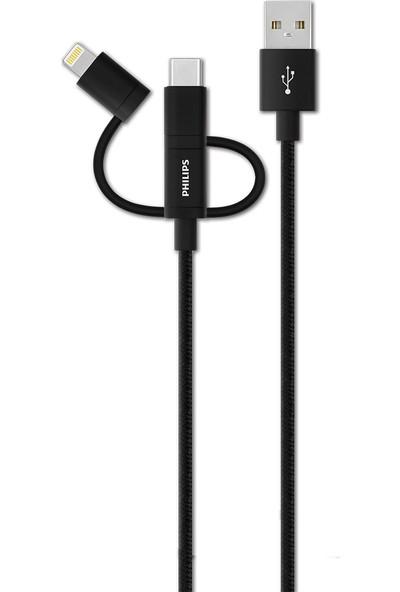 Philips DLC2608BK Lightning & USB C - Örme Şarj & Data Kablo