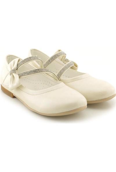 Kids World Sedef Açık Krem Taşlı Kız Çocuk Ortopedik Ayakkabı