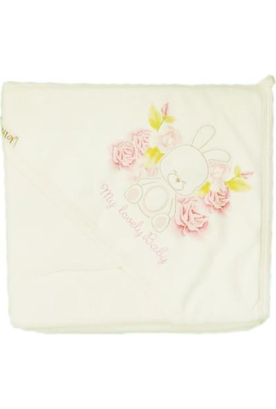 Bebitof Kız Bebek Havlu Kapüşonlu Banyo Vücut Havlusu Beyaz 3200