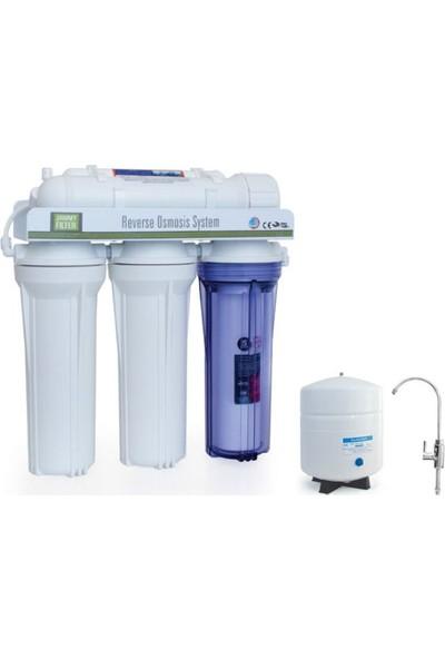 Aquabir Açık Kasa 5 Filtreli Çift Karbon Filtreli Pompasız Su Arıtma Cihazı + Lüks Musluklu