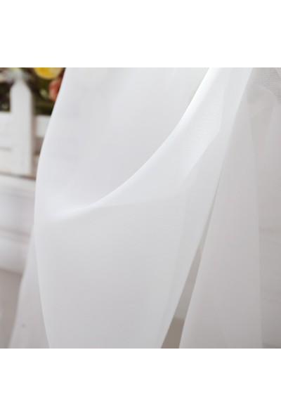 Belle Cose Kullanıma Hazır Desensiz Düz Dikim Pilesiz Basic Tül Perde 100 x 250 cm