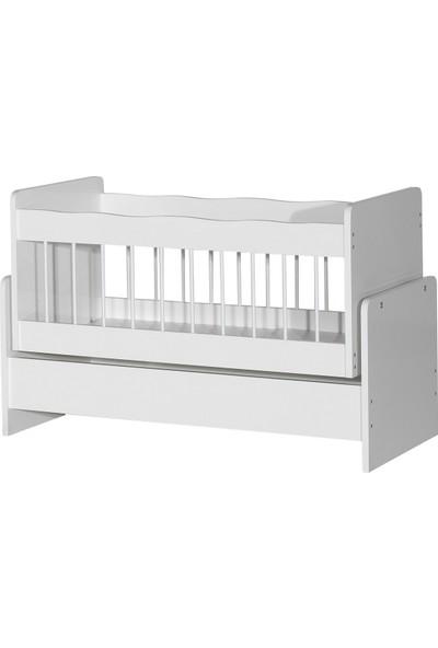 Laçes House Ahşap Beşik Anne Yanı Sallanır Bebek Beşiği T-091 Beyaz