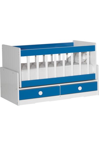 Laçes House Anne Yanı Sallanır Mini Bebek Beşik T-093-Mavi