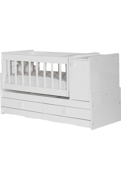 Laçes House Anne Yanı Uzamalı Sallanır Bebek Beşiği T-095-Beyaz