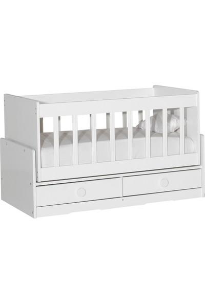 Laçes House Ahşap Beşik Anne Yanı Sallanır Bebek Beşiği T-093 Beyaz