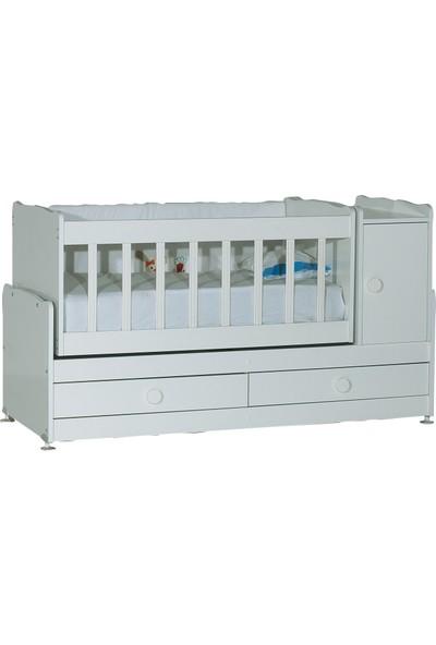 Laçes House Anne Yanı Uzamalı Sallanır Bebek Beşiği T-220-Beyaz