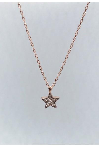 Perlotus Yıldız Mini Rose Gümüş Taşlı Kolye