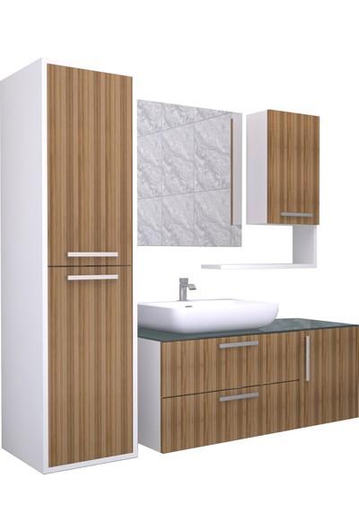 Renitsa Niva Banyo Dolabı Takımı + Ayna + Seramik Lavabo