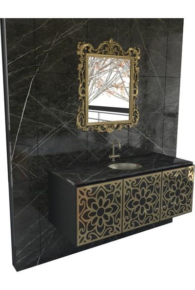 Renitsa Dante Banyo Dolabı Takımı + Ayna + Seramik Lavabo + Cam Tezgah 80 Cm