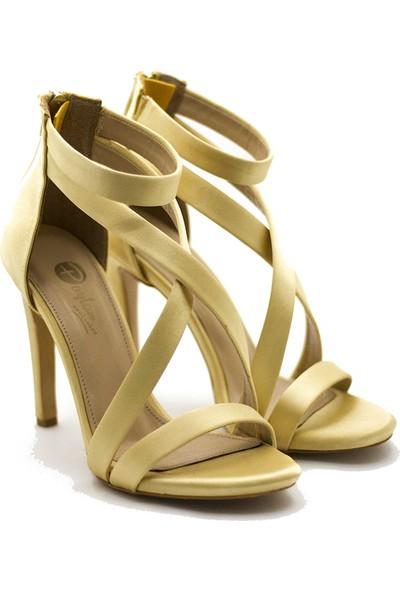 New Jargon Bej Renkli Fermuarlı Stiletto Topuklu Ayakkabı
