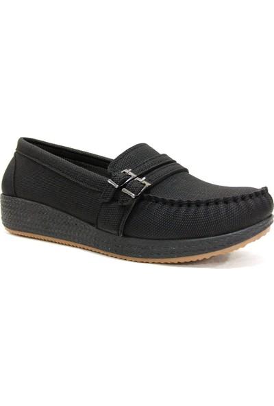 Annamaria 1075 Siyah Dolgu Topuk Comfort Bayan Ayakkabı