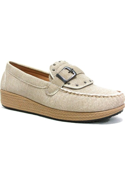 Annamaria 1080 Bej Krem Dolgu Topuk Comfort Bayan Ayakkabı