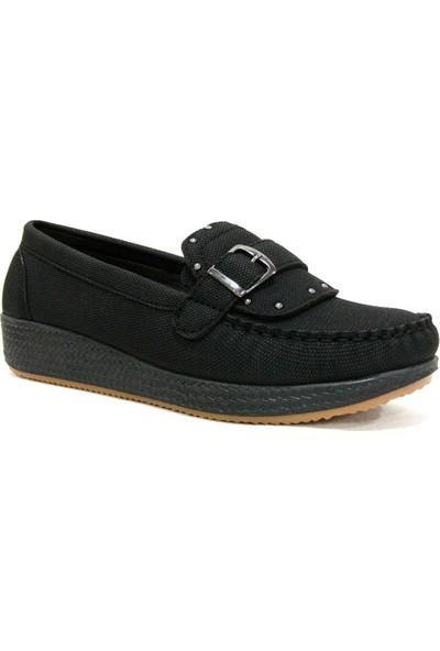 Annamaria 1080 Siyah Dolgu Topuk Comfort Bayan Ayakkabı