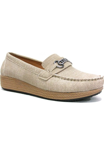 Annamaria 1120 Bej Krem Dolgu Topuk Comfort Bayan Ayakkabı