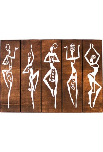 Halk Kitabevi Afrikalı Dansçı Kızlar Ahşap Tablo
