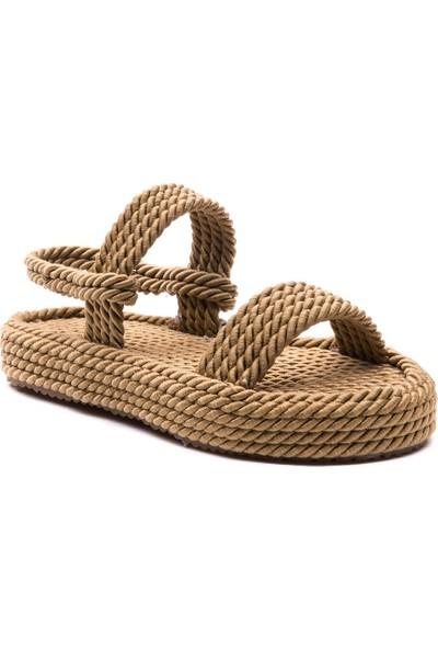 Sporthink Tek Bant İp Sargı Kadın Sandalet 1633-Gold