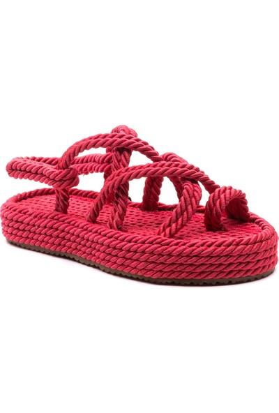 Sporthink Parmak Arası İp Sargı Kadın Sandalet 1634-Kirmizi