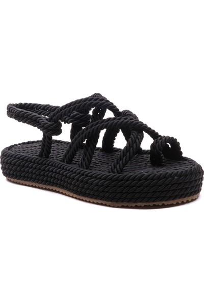 Sporthink Parmak Arası İp Sargı Kadın Sandalet 1634-Siyah
