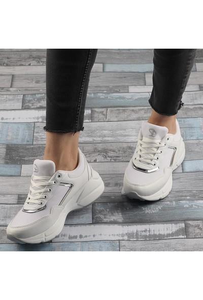 Darkstep 155 Beyaz Günlük Kalın Taban Bayan Spor Ayakkabı