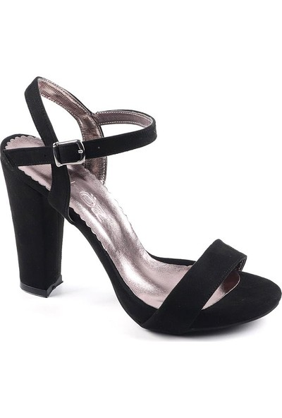 Föz Siyah Süet Tek Bant Kadın Topluku Ayakkabı