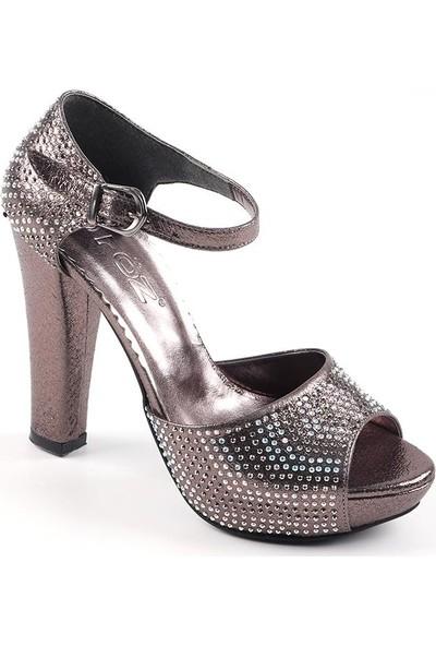 Föz Füme Taşlı Platform Kadın Topuklu Ayakkabı