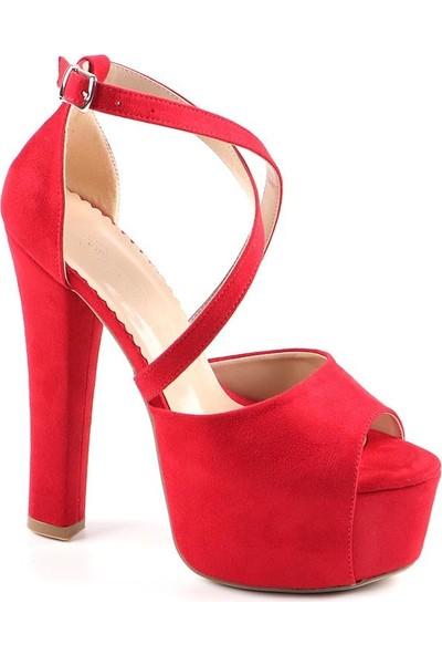 Föz Kırmızı Platform Kadın Topuklu Ayakkabı