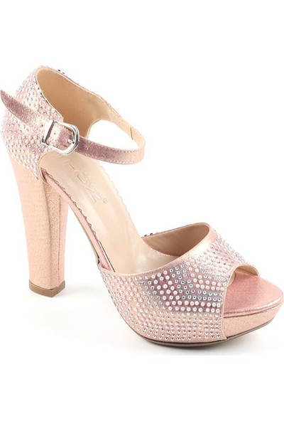 Föz Pudra Taşlı Platform Kadın Topuklu Ayakkabı