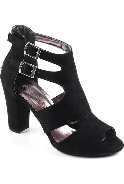 Föz Siyah Süet Kemerli Kadın Topuklu Ayakkabı
