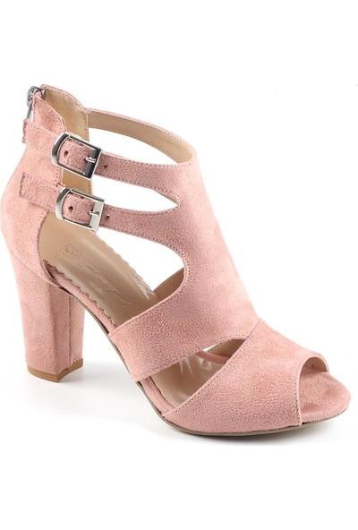 Föz Pudra Süet Kemerli Kadın Topuklu Ayakkabı