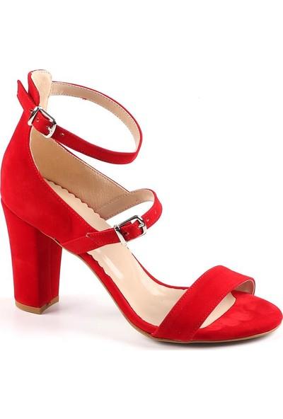 Föz Kırmızı Süet Çift Kemer Kadın Topuklu Ayakkabı