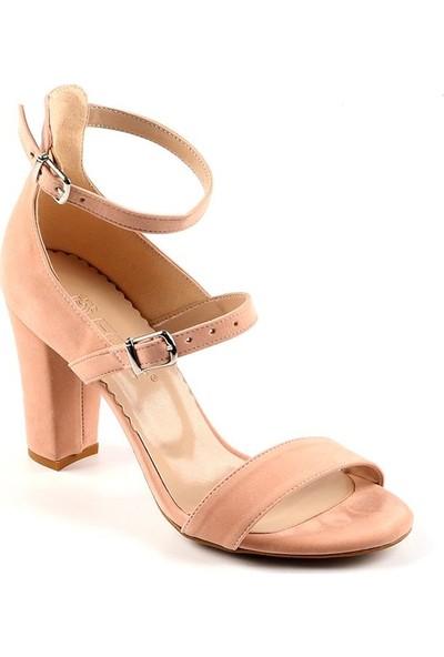 Föz Pudra Süet Çift Kemer Kadın Topuklu Ayakkabı