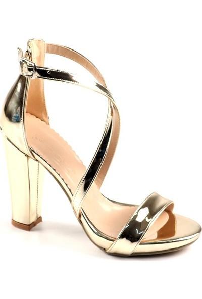 Föz Altın Tek Bant Çapraz Kadın Topluku Ayakkabı