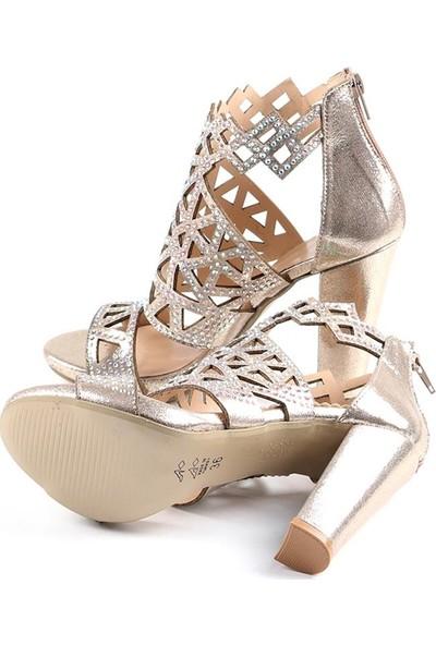 Föz Altın Taşlı Lazer Kesim Kadın Topuklu Ayakkabı