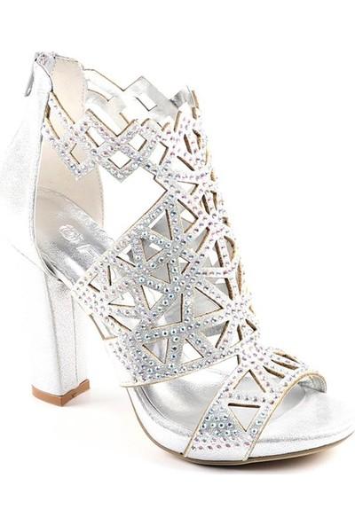 Föz Gümüş Taşlı Lazer Kesim Kadın Topuklu Ayakkabı