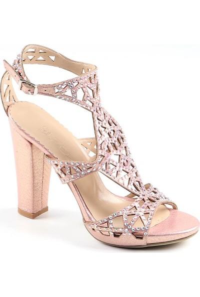 Föz Pudra Taşlı Lazer Kesim Kadın Topuklu Ayakkabı
