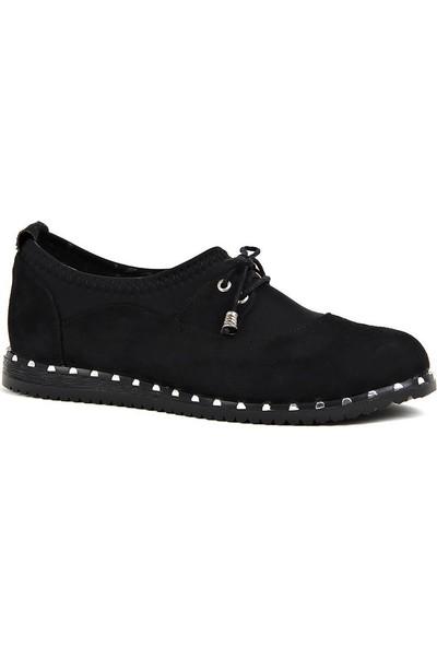 Disar Siyah Süet Günlük Yürüyüş Bayan Ayakkabı