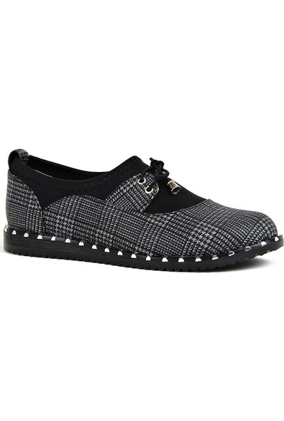 Disar Siyah Ekose Günlük Yürüyüş Bayan Ayakkabı