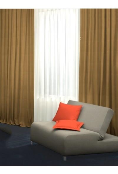 Caserta Home Düz Hardal Orta Sıklıkta Pileli Tek Kanat Fon Perde - Melis Ada V12485