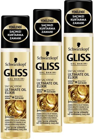 Gliss 200ml Ultimate Oil Elixir Sıvı Saç Kremi x 3 Adet