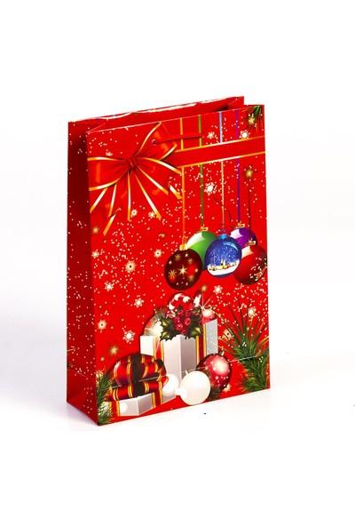 Yılbaşı Karton Çanta Kırmızı Fiyonk Temalı 26Cm x 38Cm