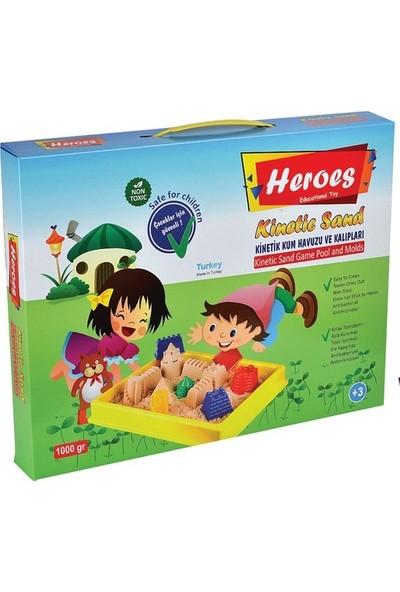 Hereos Kinetik Oyun Kumu + Oyun Havuzu + Oyun Kalıpları 4 Renk - 1 Kg Kinetik Kum