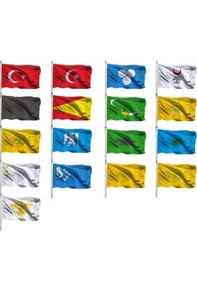 Eski Türk Devlet Bayrakları Seti 17'Li 50X75Cm.