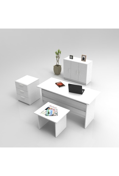 Yurupa Kraft Serisi No:4 Ofis Büro Masa Takımı 3 Renk Beyaz VO12-W