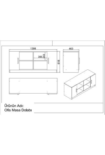 Yurupa Kraft Serisi No:2 Ofis Büro Masa Takımı 3 Renk Meşe-Beyaz VO10-WO
