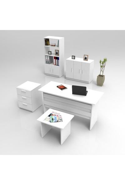 Yurupa Kraft Serisi No:6 Ofis Büro Masa Takımı 3 Renk Beyaz VO14-W