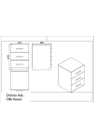 Yurupa Kraft Serisi No:7 Ofis Büro Masa Takımı 3 Renk Meşe-Siyah VO15-OB