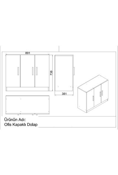 Yurupa Kraft Serisi No:8 Ofis Büro Masa Takımı 3 Renk Beyaz VO16-W