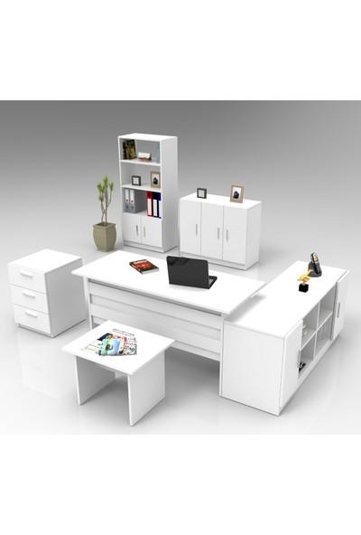 Yurupa Kraft Serisi No:9 Ofis Büro Masa Takımı 3 Renk Beyaz VO17-W