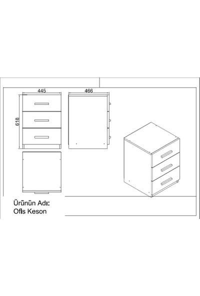 Yurupa Kraft Serisi No:19 Ofis Büro Masa Takımı 3 Renk Meşe-Siyah VO9-OB